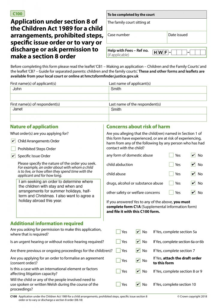 Screenshot of Page 1 – Application Under Section 8 Children's Act