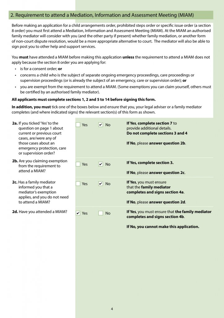 Screenshot of Page 4 – Requirement to attend a Mediation, Information and Assessment Meeting (MIAM)