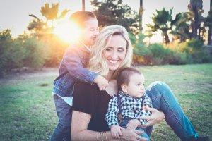 happy single mum with children